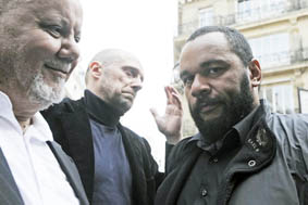 Yahia Gouasmi, anti-Zionist Party leader, Alain Soral, writer and former far-right National Front political party adviser, and French humorist Dieudonne arrive at the French Interior Ministry to hand in the European candidates list in Paris