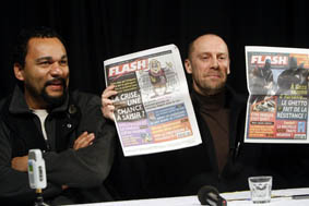 French writer Alain Soral and humorist Dieudonne attend a news conference in Paris